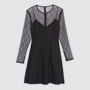 SANDRO Noir Illusion Lace Embroidered Mesh Dress